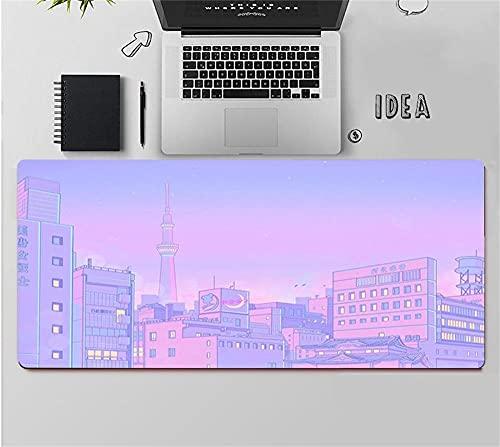 Gaming Mouse Pads Purple Landscape Anime Sailor Moon Desktop Non Slip Desk Mat Kawaii Locking Edge Writing Pad Office Long Table Mat L