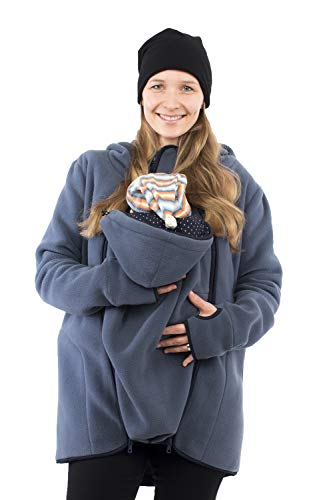 Viva la Mama - Umstandsmode Mantel Winterjacke Damen Tragejacke mit Einsatz Winter Fleece - Janko - stahlblau - M