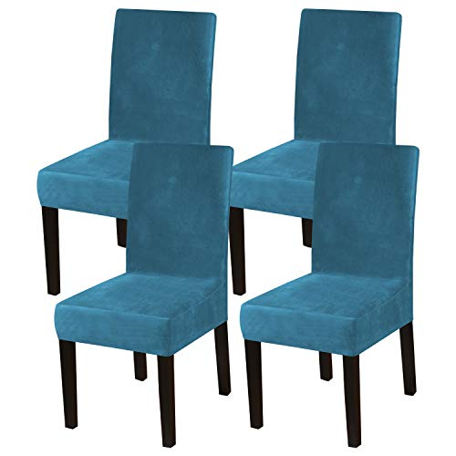 Dining Chair Covers Stretch Chair Covers for Dining Room Velvet Chair Protector Covers Slipcover Parson Chair Covers Set of 4 for Hotel Ceremony, Thick Soft Modern Style, Peacock Blue, 4