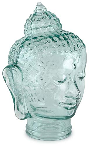 Traders and Company Spanish 100% Recycled Clear Glass Buddha Head - 11.5' H