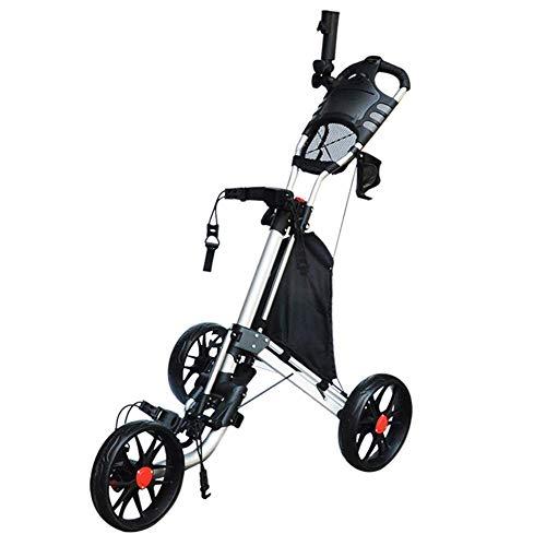 JLDN Carrito Golf 3 Ruedas, Ligero Carrito de Golf con Soporte para Paraguas Freno Pie Carritos de Golf de Mano con Ruedas Plegable,Black