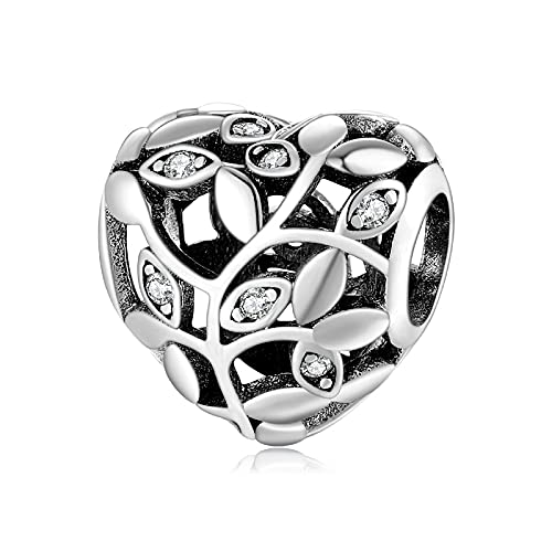 LISHOU Tree Clover 925 Sterling Silver Clear Cz Ahueca hacia Fuera La Flor En Forma De Corazón Perlas Finas Fit Original Charm Bracelet Jewelry Making D1