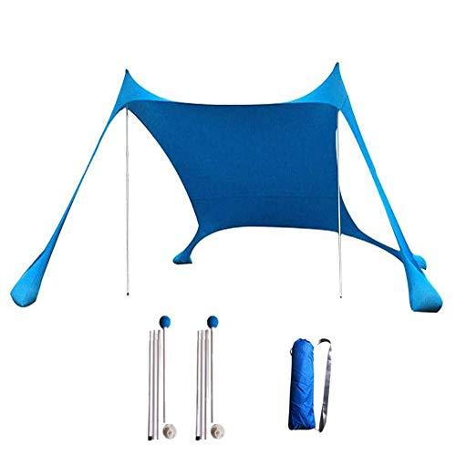 Carpas, Playa Los 210 * 210Cm Playa Protector Solar Pérgola Al Aire Libre Pescar Cámping Sun Shelters Portable, Esquinas Reforzadas Y Bolsillo Enfriador (Azul)