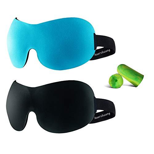 Kuershuang 3D Sleep Mask 2 Pack,Soft Eye Mask for Sleeping Dry Eyes Yoga Travel Sleep Aid,Best Eye Mask for Sleeping Men & Women,Gifts for Men Friends,Black/Blue