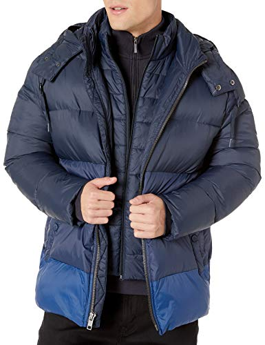 Marc New York by Andrew Marc Men's Dovers Mid Length Down Jacket with Removable Hood, Blue, XX-Large