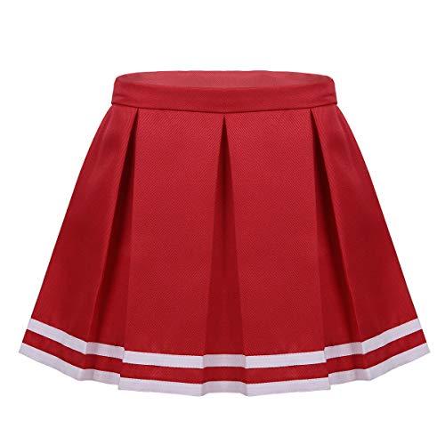 iiniim Falda Plisada de Uniforme Escolar Niñas Falda Corta Cremallera Lateral Falda de Porristas Falda a Rayas Cheerlearding Skirt Schoolwear Falda Casual Muchachas Elegante Rojo 10-12 Años