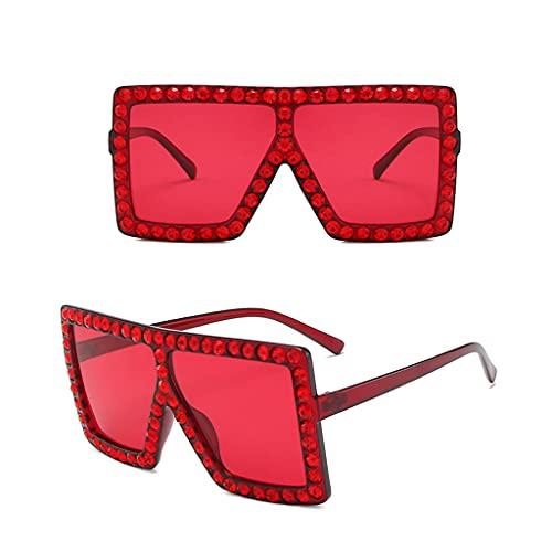 XFBH 2 pares de gafas de sol de moda de una sola pieza marco cuadrado grande con decoración de diamantes de imitación gafas de sol unisex al aire libre sombras UV400 (color: NO.5)