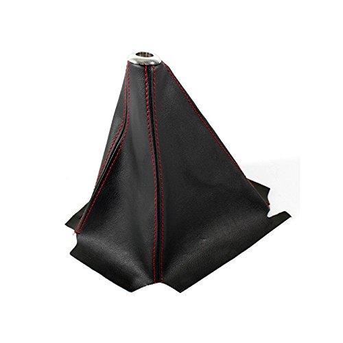 ixaer Car Shift Knob Cover-Universal Stitch/JDM Black PVC Leather Manual/Auto Shifter Shift Boot Cover