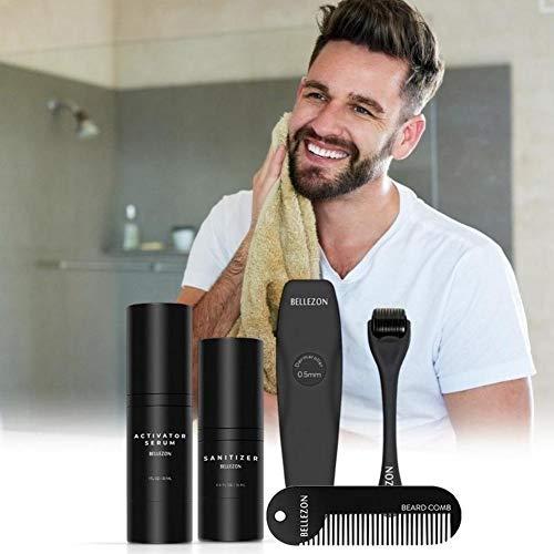 El kit de crecimiento de barba mejorado establece el mejor regalo para hombres/papá: líquido de suero para activador de crecimiento de barba, rodillo para barba, desinfectante y peine