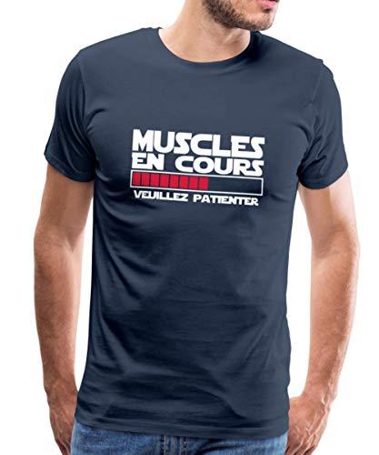 Spreadshirt Musculation Muscles en Cours Veuillez Patienter T-Shirt Premium Homme, M, Bleu Marine