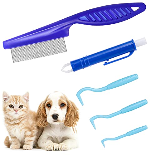 MELLIEX Herramientas para Eliminar Garrapatas, Gancho para Garrapatas Peine de Garrapatas Alicates para Garrapatas Instrumentos Antigarrapatas para Perros Gatos Mascotas