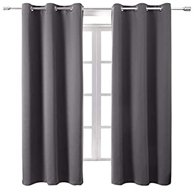 WONTEX Blackout Curtains Room Darkening Thermal Insulated with Grommet Window Curtain for Bedroom, 42 x 84 inch, Grey, 2 Panels