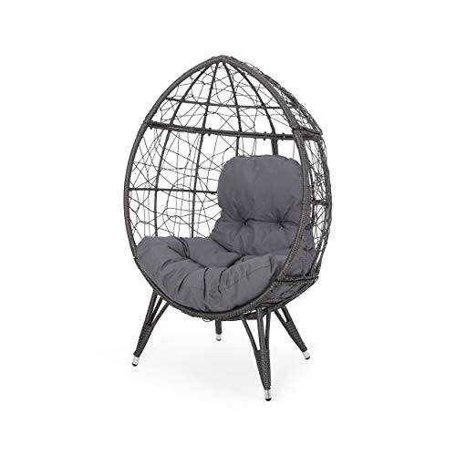 Valerie Outdoor Wicker Teardrop Chair with Cushion, Gray and Dark Gray