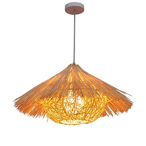 XMYX Lámpara Colgante Retro con Pantalla de Ratán Creativo Lámparas de Araña de Diseño de Sombrero de Paja Lámpara de Techo para Comedor Salón Dormitorio Bar Cafe E27 Luz Pendiente,Ø40cm