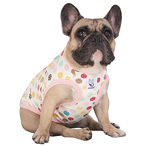 iChoue Dogs Clothes Vest Fruit Print Cotton Sleeveless Pajama for French Bulldog Pug Boston Terrier Frenchie Cute Tank Top - M Pattern of Polka Dot