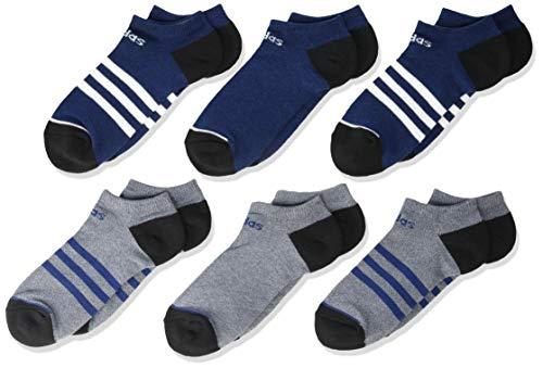 adidas Calcetines deportivos unisex para niños y jóvenes, 3 rayas, paquete de 6, Unisex, 5149464B, Tech Indigo Blue - Tinta para leyenda, color azul y blanco y negro, Medium, (Shoe Size 13C-4Y)