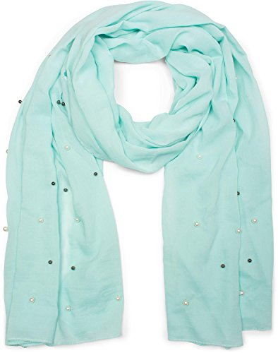 styleBREAKER unifarbener Schal mit hellen und dunklen Perlen besetzt, Tuch, Damen 01016146, Farbe:Türkis