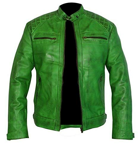 UGFashions Men's Vintage Retro Style Motorcycle Quilted Biker Green Genuine Leather Jacket