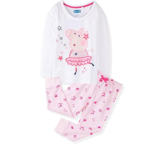 Peppa Pig Character - Pijama de manga corta y larga, 100% algodón, para niña, 1-6 años, Blanco y...