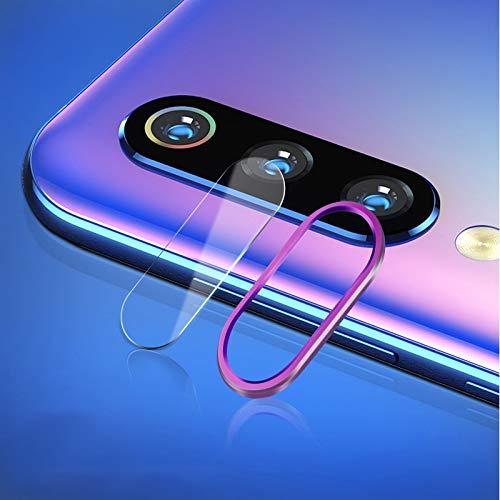Webcam afdekking krasbestendig mobiele telefoon metalen achterste camera lens ring achterste camera lens getemperd bescherming filmset voor Xiaomi Mi 9, paars