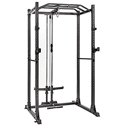 papababe Power Cage with LAT Pulldown 1200-Pound Capacity High Capacity Power Rack Home Gym Equipment with LAT Pull Attachment