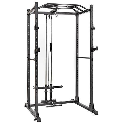 papababe Power Cage with LAT Pulldown 1200-Pound Capacity High Capacity Power Rack Home Gym Equipment