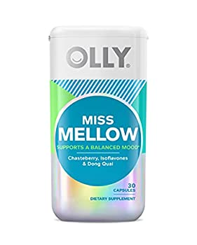 OLLY Miss Mellow Capsules Hormone Balance and Mood Support Vegan Capsules Supplement for Women - 30 Count
