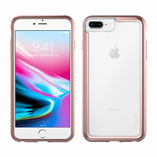 iPhone 8 Plus Case   Pelican Adventurer Case - fits iPhone 6/6s/7/8 Plus (Clear/Metallic Rose Gold)