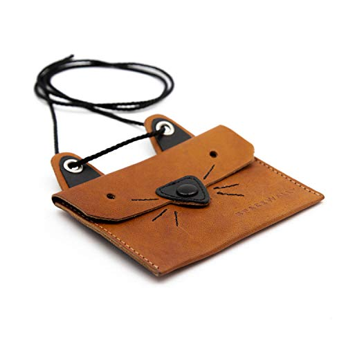 Space Wally Mini Portemonnaie I Space Wallet zum Umhängen für Kinder & Erwachsene I Kleine Katzen-Geldbörse aus hochwertigem Leder I Trendiger Geldbeutel für Schüler I Mia