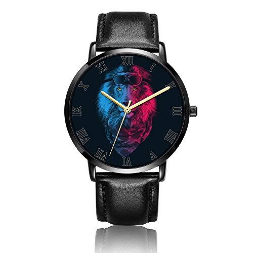 Hdaw Customized Lion Aviator Wrist Watch Unisex Reloj de Pulsera de Cuero de PU de Moda de Cuarzo analógico para Mujeres y Hombres