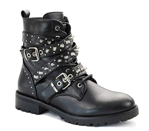 irisaa Dameslaarzen laarzen zwart met strass of parels snoer biker boots