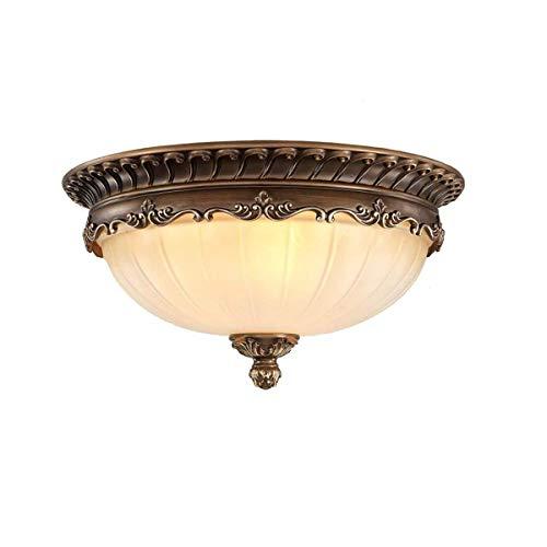 KJLARS Retro Rund Deckenlampe Wohnzimmer Deckenleuchte Küche Deckenbeleuchtung Schlafzimmer Vintage Lampe Glas Lampeschirm (8148-36cm)