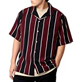 [ドムアオム] オープンカラーシャツ 大きいサイズ メンズ ストライプ 半袖 開襟シャツ ワイン LL