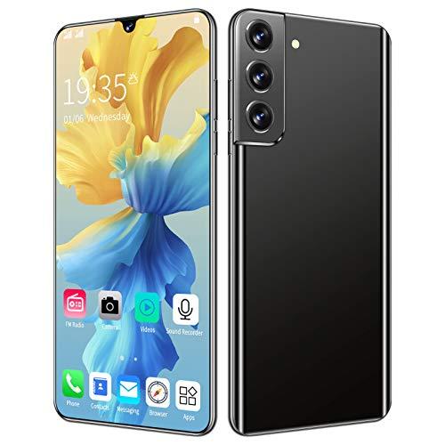 PPBB Telefonos Moviles Baratos S21, 6,6'HD, 12 GB + 512 GB, Smartphone Libre Android 10.0, Batería Grande De 6000 Mah, Doble SIM + 50MP Teléfonos Móviles con Cámara Trasera Triple, ID De Rostro,Negro