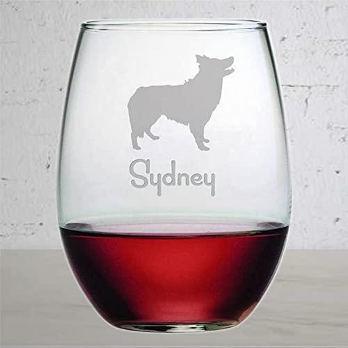 Copa de vino sin tallo, personalizable para perros y razas, con grabado láser y cristal de whisky, idea única para él, ella, yo212 de 15 onzas