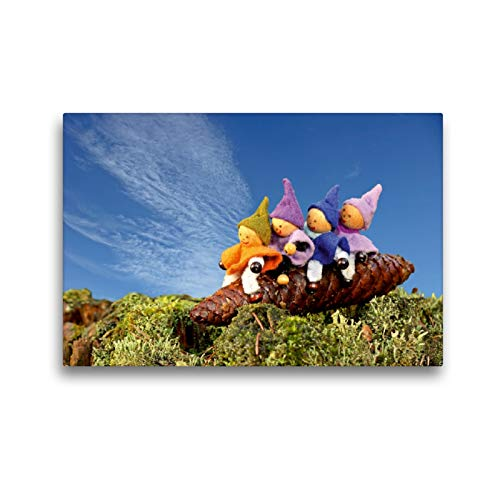 CALVENDO Premium Textil-Leinwand 45 x 30 cm Quer-Format Vier kleine Wichtel reiten auf einem Fichtenzapfen, Leinwanddruck von Christine Schmutzler-Schaub