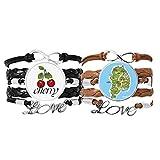 Bestchong Lot de 2 bracelets en cuir avec motif carte montra