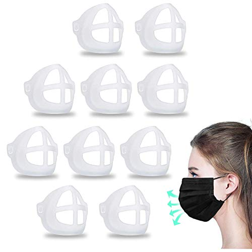 MINGYUAN 3D Silicone Bracket for Comfortable Face Covering Wearing - 10 Pcs Protect Lipstick Mask Inner Support Frame, Reusable Washable