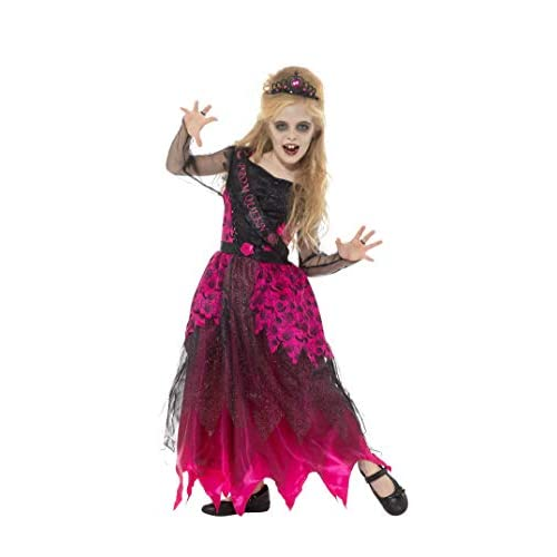 Smiffys Costume deluxe reginetta del ballo studentesco in stile gotico, Rosa e Nero, con