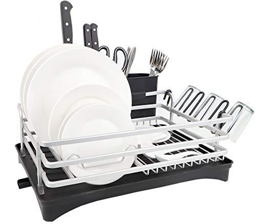 Escurreplatos de y aluminio – Compacto escurridor de platos con bandeja de goteo y desagüe giratorio – Rejilla escurreplatos con cubertero para la encimera