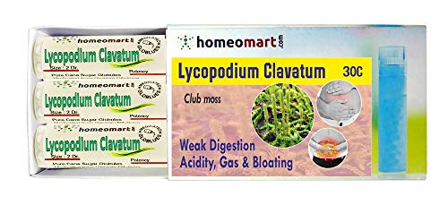 Homeopathy Lycopodium Clavatum 30C Pills for weak Digestion, Acidity, Gas or Flatulence & Bloating. Pack of 3 in Glass vials (Best Medicine For Acidity In India)