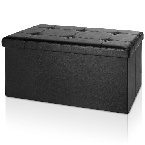 Deuba Banco de Almacenamiento Baúl Puff Plegable Negro 100L 80x40x40cm Elegante y acolchonado Asiento Otomano o reposapiés