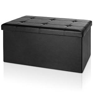 Deuba Baúl Puff Taburete para almacenaje color Negro reposapiés plegable asiento 80 x 40 x 40cm capacidad de 100L