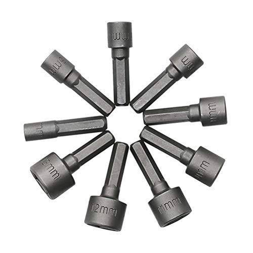 UKCOCO 9 PCS 5-13mm Métrique Socket Nut Adaptateur De Pilote Adaptateur Forets Bits 1/4 Pouce Hex Shank Tool Set Écrou Pilote Socket Bit Set (5mm 6mm 7mm 8mm 9mm 10mm 11mm 12mm 13mm)