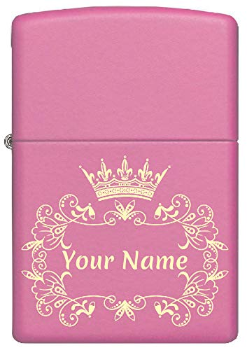 Custom Zippo Lighter Personalized Laser Engraved 'YOUR NAME' Tiara and Floral Lace Border Lighter Gift for Woman!!