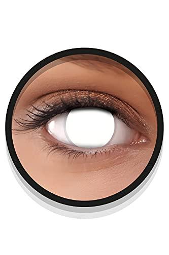 FXEYEZ Farbige Halloween Kontaktlinsen weiß BLIND WHITE, weich, 2 Stück (1 Paar), ACHTUNG: Nur 60% Sehvermögen - Ohne Sehstärke