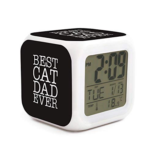 Cute Multifunction Desk Alarm Clock Best Cat Dad Ever Digital Alarm Clock with Nightlight 7 Color Changing Light Bedside Clock for Bedroom.Sleep Timer with Thermometer,Touch Control and Snoozing