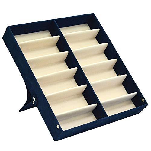 Carl Hamilton Aufbewahrungsbox für Sonnenbrillen, Schmuck, 12 Fächer, tragbar, platzsparend, mit Deckel, blau, Blau