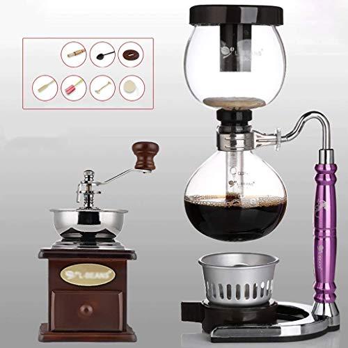 Manual Coffee Grinder -Siphon conjunto cafetera sifón Zodiac totem sifón cafetera lata 12 colores, 3 tazas de máquinas de café de vacío (Color: H) Haike (Color: A) WTZ012 (Color : G)