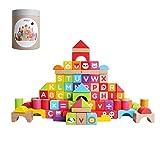 FSJD Kinderbaustein Spielzeug, Holzbausteine 1-2 Jahre alt und 3-6 Jahre alt Kinder Jungen und Mädchen, Digitale englische kognitive Bausteine, pädagogische Früherziehung Spielzeug